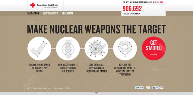 Target Nuclear Weapons as an example of using circles in web design