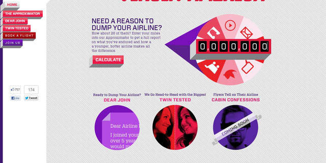 Switch to Virgin America makes great use of circles web design