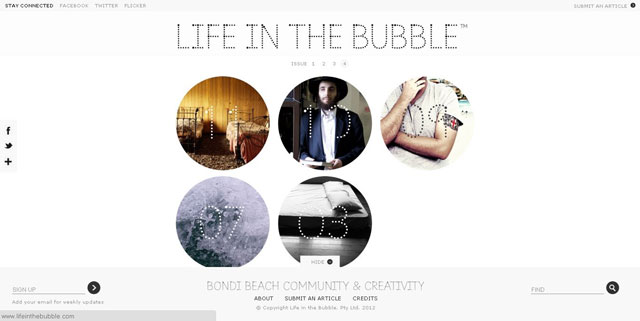 Life in the Bubble makes great use of circles web design