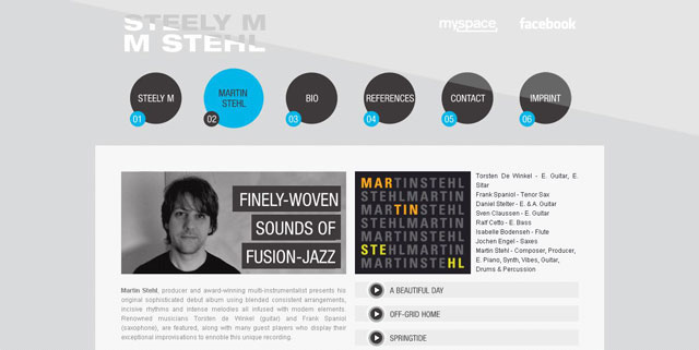 Steelym-Music Production makes great use of circles web design