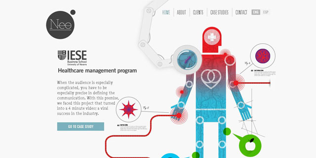 Neo Labels makes great use of circles web design