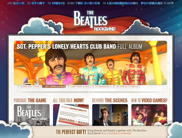The Beatles Rock Band parallax scrolling inspiration