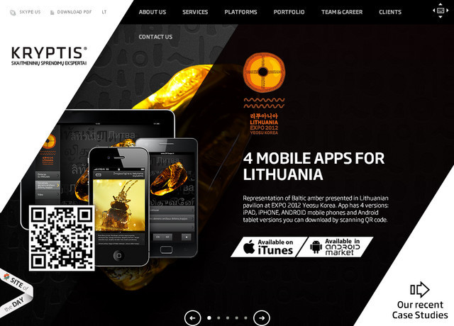 Kry-Ptis example of parallax scrolling web design
