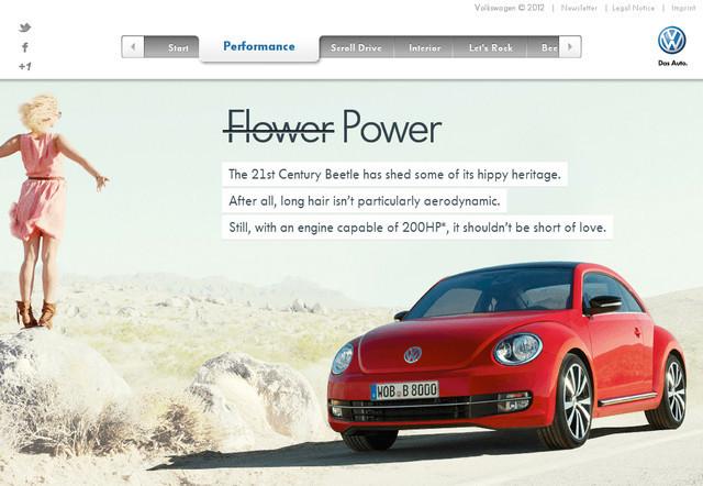 Volkswagen-Beetle parallax scrolling effect in web design