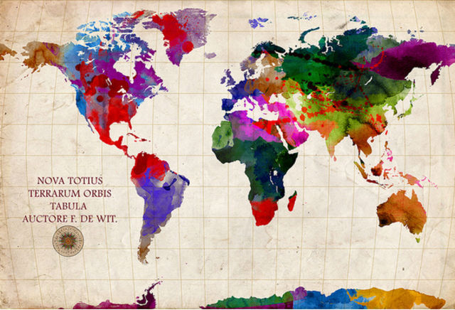 World Map Watercolor world map remake