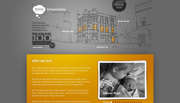 Think Brown Stone is an example of a handdrawn style websites