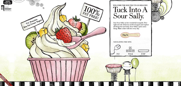 Hello Sour Sally is an example of a handdrawn style websites