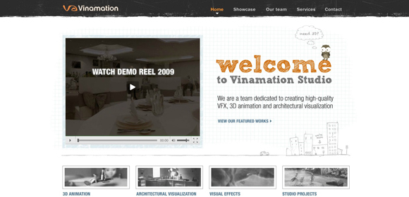 Vinamation is an example of a handdrawn style websites