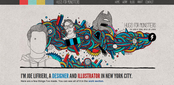 Hugs for Monster is an example of a handdrawn style websites