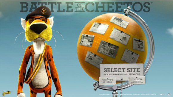 Battle of the Cheetos is an inspiring example of background video on the web