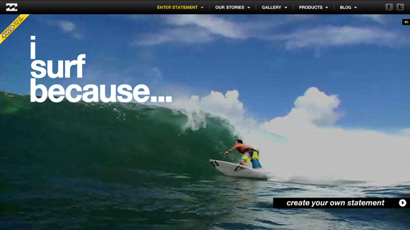 I Surf Because is an example of a website that uses video as a background