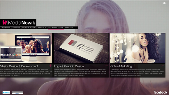 Media Novak is an example of a website that uses video as a background
