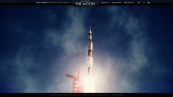 We Choose the Moon is an inspiring example of background video on the web