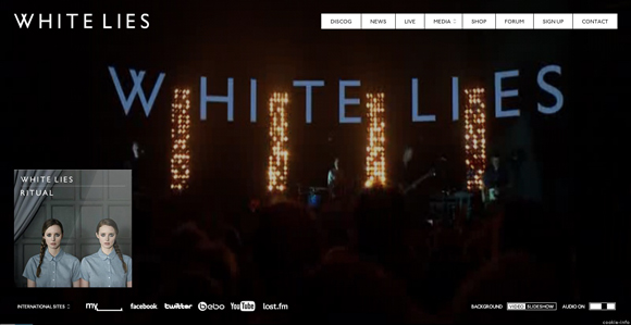 White Lies is an example of a website that uses video as a background