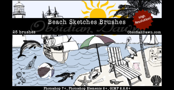 Photoshop Beach Sketches Brushes scribble doodle