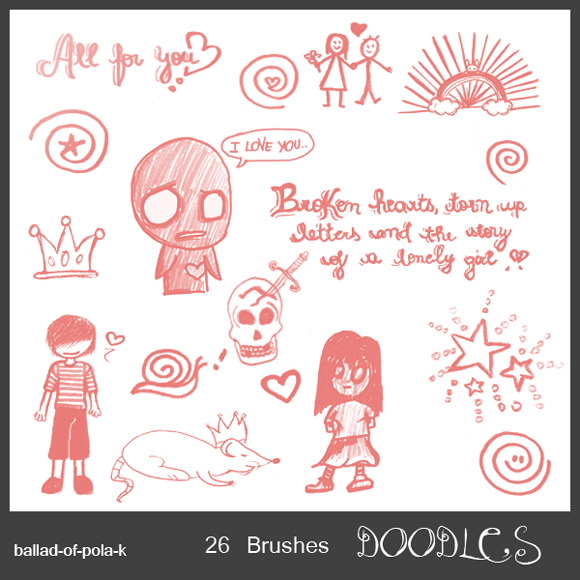 30 Free Scribble & Doodle Photoshop Brush Packs