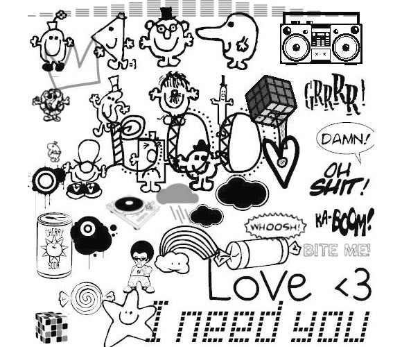 Photoshop Random Doodle Brushes scribble doodle