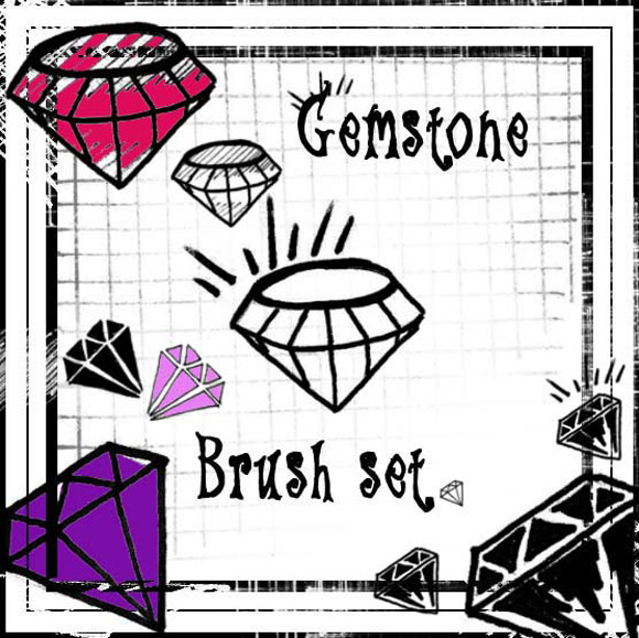 Photoshop Scene Gemstome Brush Set scribble doodle