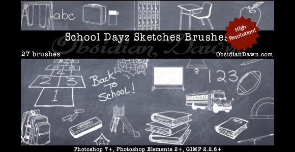 Photoshop School Dayz Sketches Brushes scribble doodle