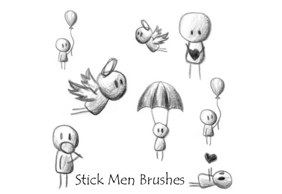 Photoshop Stick Men Brushes scribble doodle