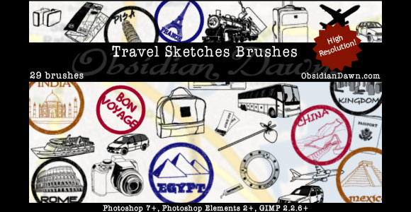 Photoshop Travel Sketches Brushes scribble doodle