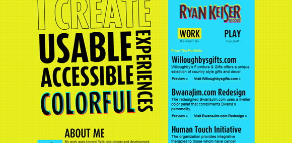 The Ryan Keiser homepage web design with a fantastic color scheme