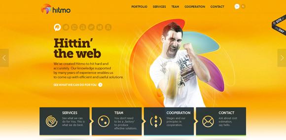 The Hitmo homepage web design with a fantastic color scheme