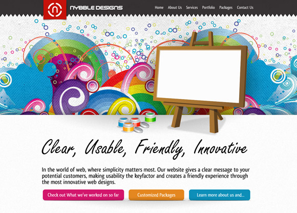 The Nybble Designs homepage web design with a fantastic color scheme