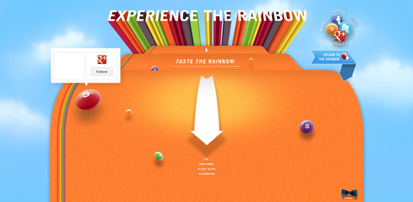 The Skittles homepage web design with a fantastic color scheme