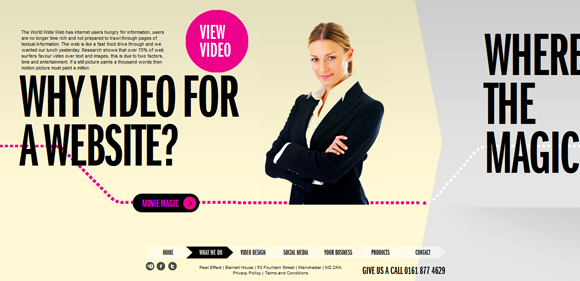 The Reel Effect homepage web design with a fantastic color scheme