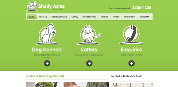 The Shady Acres homepage web design with a fantastic color scheme