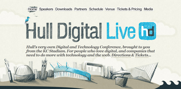 The HD Live homepage web design with a fantastic color scheme