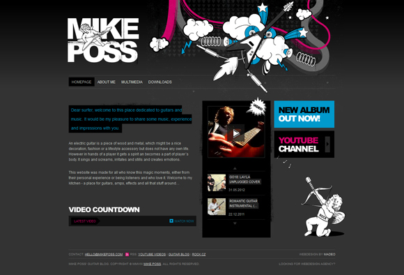 The Mike Poss homepage web design with a fantastic color scheme