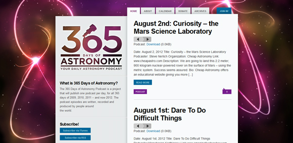 The 365 Days Astronomy homepage web design with a fantastic color scheme