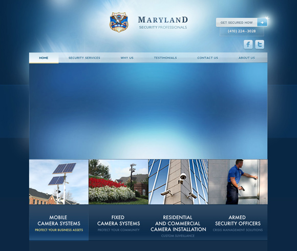 The Mary Land Security homepage web design with a fantastic color scheme