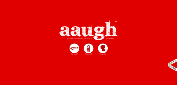 The Aaugh homepage web design with a fantastic color scheme