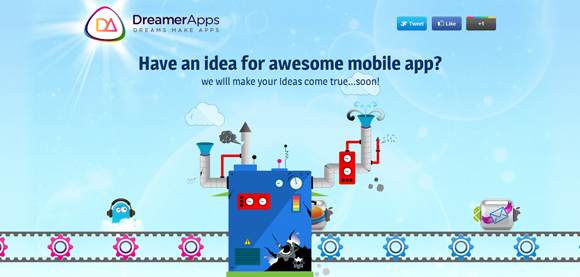 The Dreamer Apps homepage web design with a fantastic color scheme