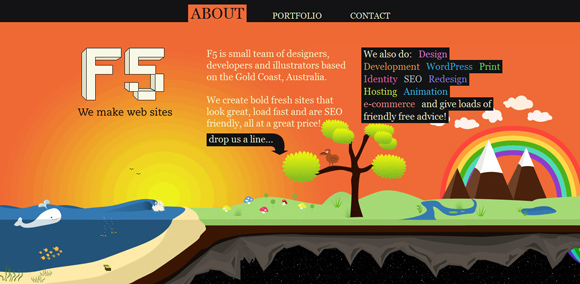 The F5 homepage web design with a fantastic color scheme