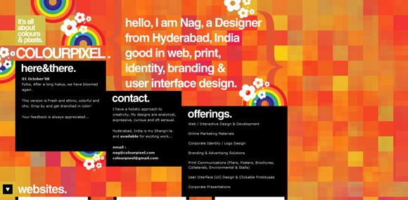 The Colour Pixel homepage web design with a fantastic color scheme