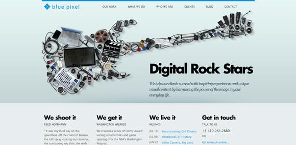 The Blue Pixel homepage web design with a fantastic color scheme
