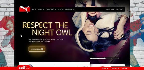 The Puma homepage web design with a fantastic color scheme