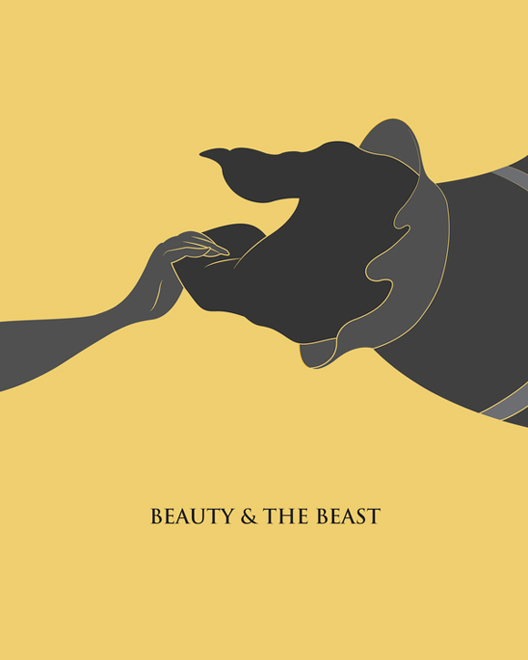 creative minimal movie poster of the Beauty & The Beast film