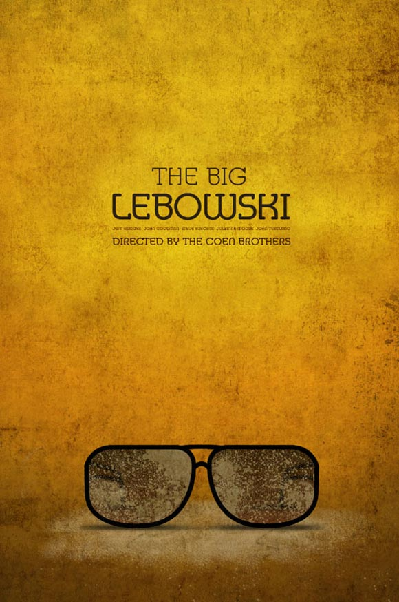 creative minimal poster of the The Big Lebowski film