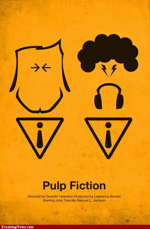 Pulp Fiction movie poster in a pictogram style