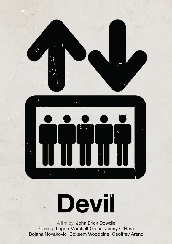 Devil movie poster in a pictogram style