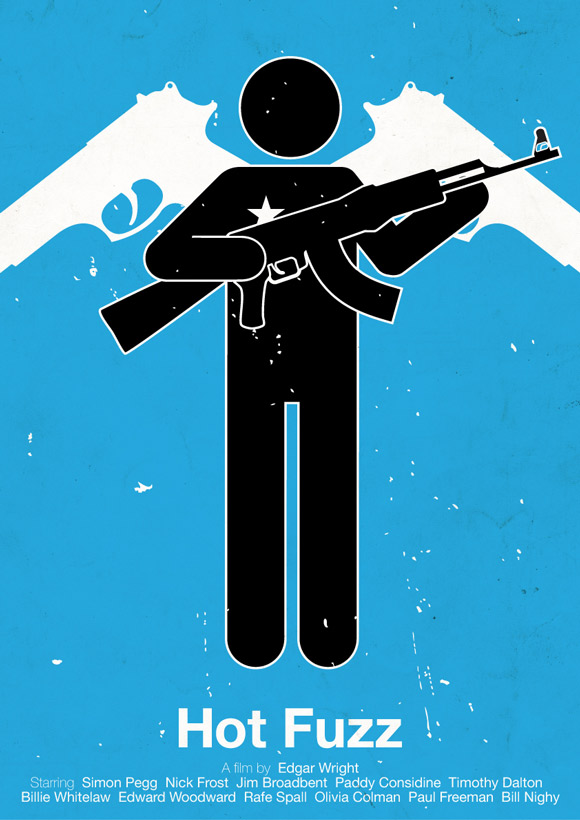 Hot Fuzz movie poster in a pictogram style