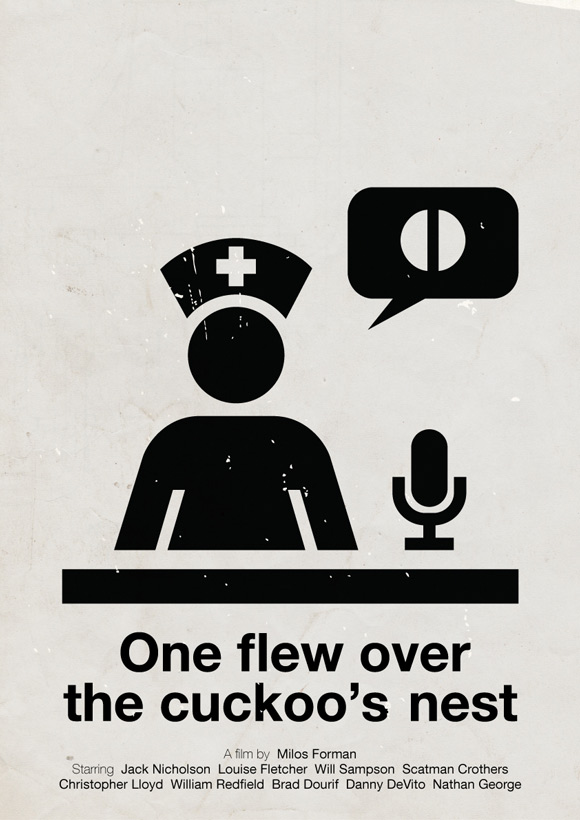 One Flew Over the Cuckoo's Nest movie poster in a pictogram style