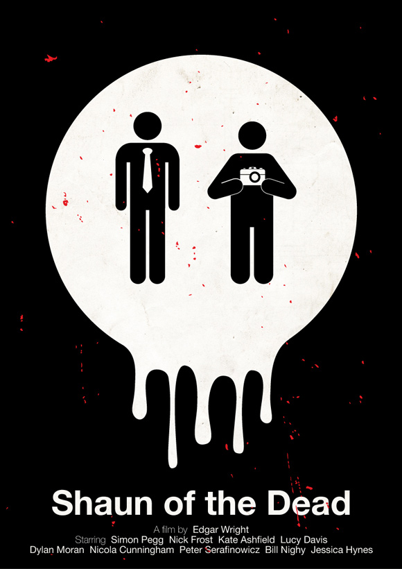 Shaun of the Dead movie poster in a pictogram style