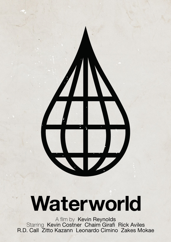 Waterworld movie poster in a pictogram style