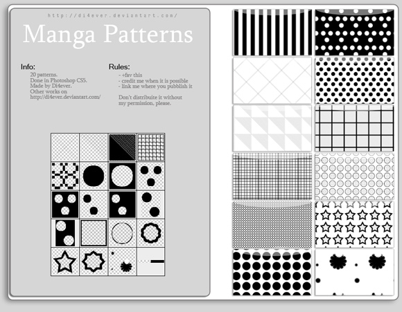 Manga freebies adobe photoshop patterns by Didi